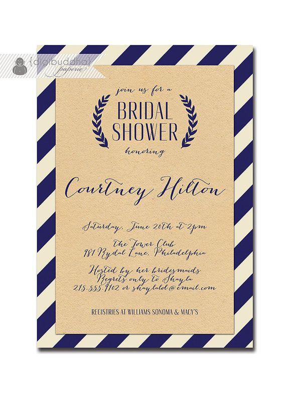 Kraft Bridal Shower Whimsical Script Navy & Off White Striped Modern Bridal Wedding Shower Invitation Printable or Printed - Courtney Style