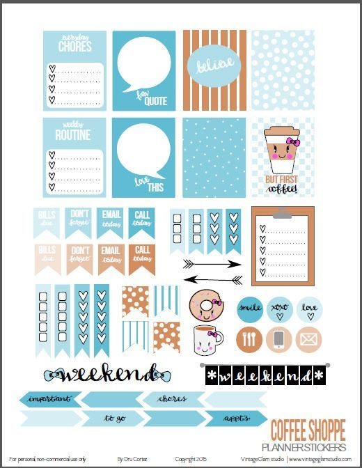 Coffee Shoppe Planner Stickers – Free Printable Download