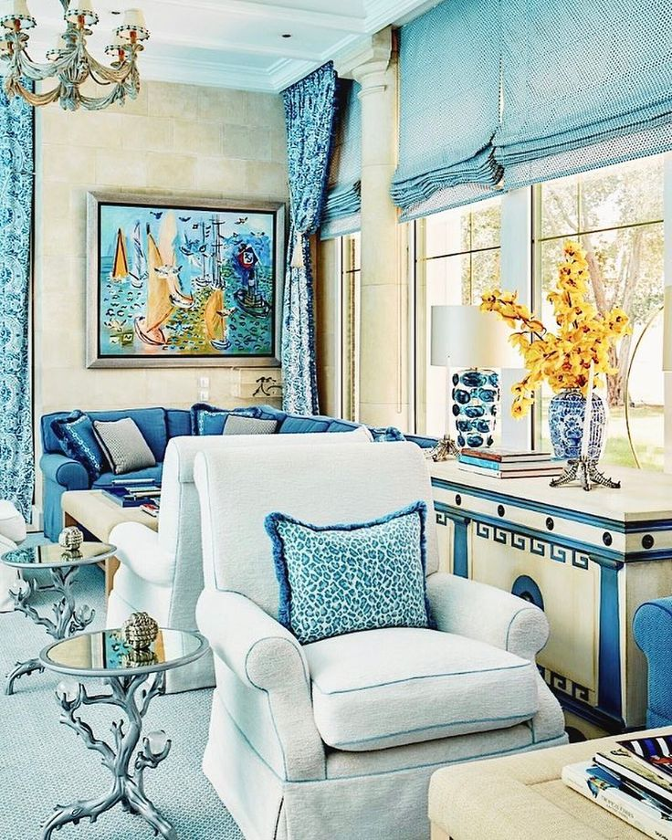 """Timothy Corrigan on Instagram: """"It feels like a day at the beach at this indoor pool we did for some wonderful clients! Blue and white with a splash of yellow (Monet's…"""""""