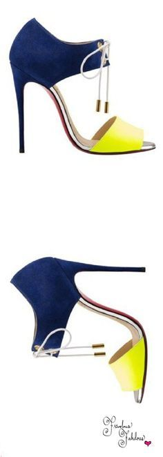 Christian Louboutin 2015 color block hollow out mini white lace up blue and yellow heels