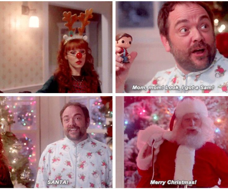 11x10 The Devil In The Details promo [gifset] - Mark Sheppard in a onesie XD - Rowena, Crowley, Santa!Lucifer; Supernatural