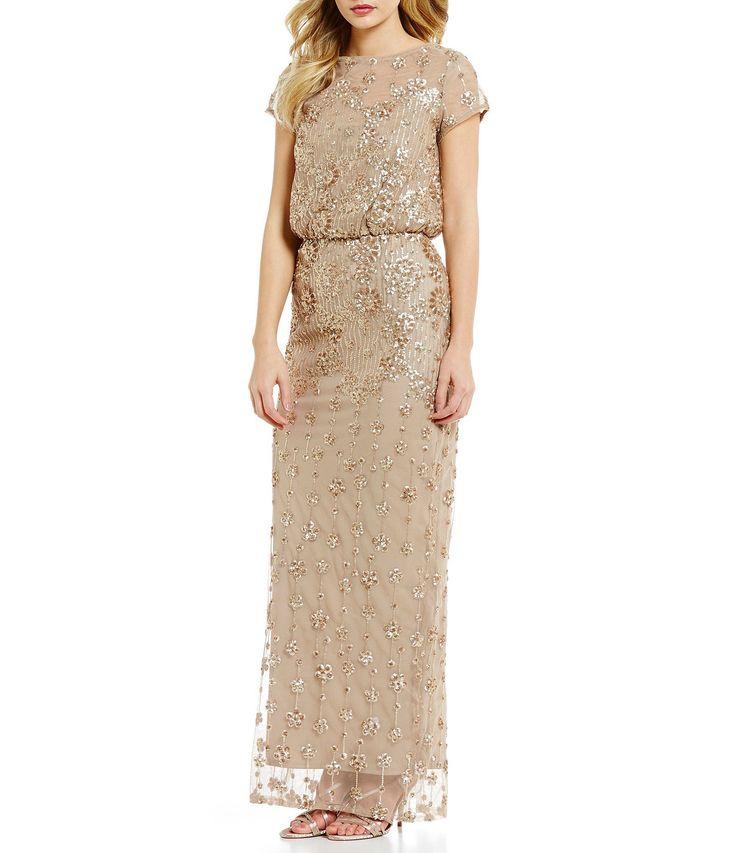 Brianna Round Neck Short Sleeve Sequined Blouson Gown #Dillards