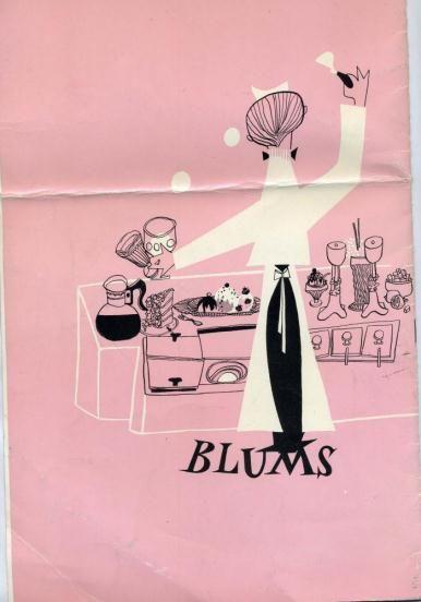 Blum's Restaurant Menu San Francisco Stonestown 1960's