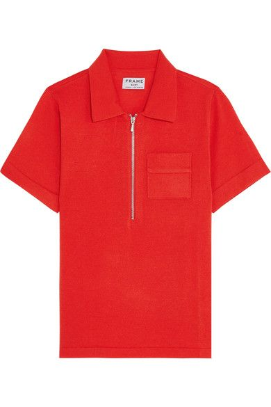 FRAME - Wool And Cashmere-blend Polo Shirt - Tomato red - medium