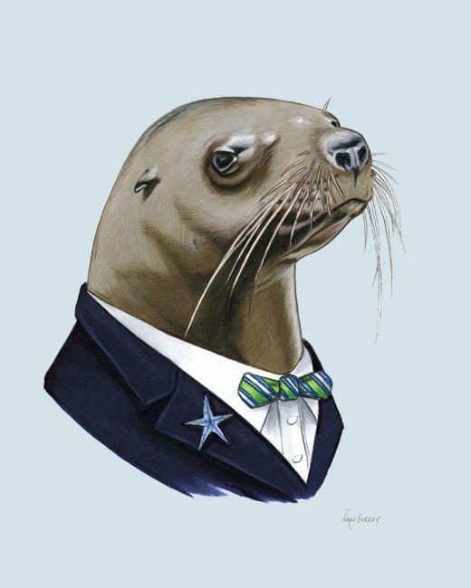 Sea Lion Gentleman art print 11x14 on Etsy, $35.00