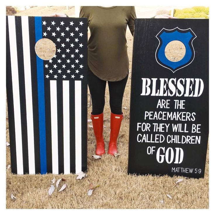 Thin blue line - gifts for him - cornhole boards - hand painted - police officer