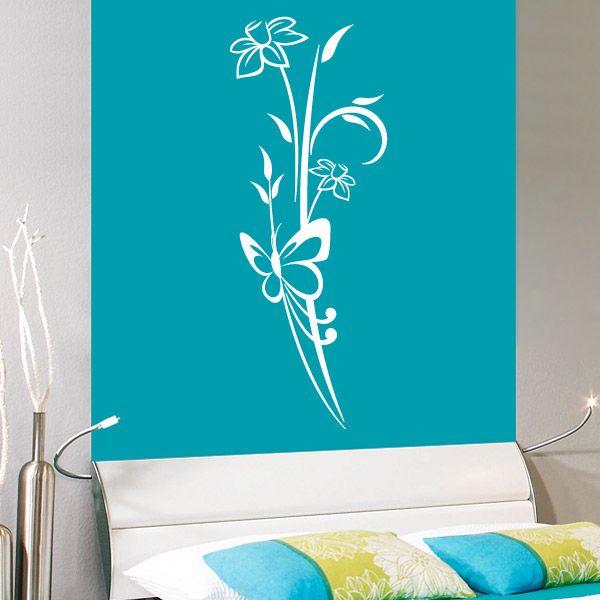 Melia es un motivo floral, de orientación vertical. Sus líneas estilizadas lo han convertido en uno de nuestros vinilos decorativos más vendidos. El diseño es sencillo e incluye una mariposa y unas flores. #teleadhesivo #decoracion