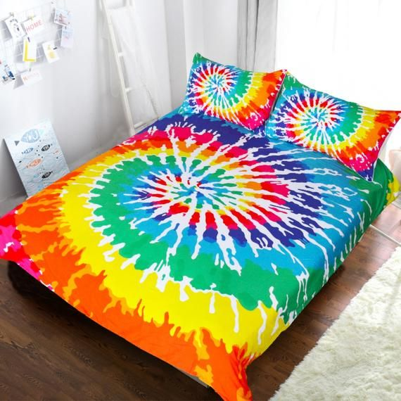 3d Printed Tie Dyed Rainbow Kids Duvet Cover Twin Full Queen Etsy Tie Dye Bedding Tie Dye Duvet Colorful Duvet Covers