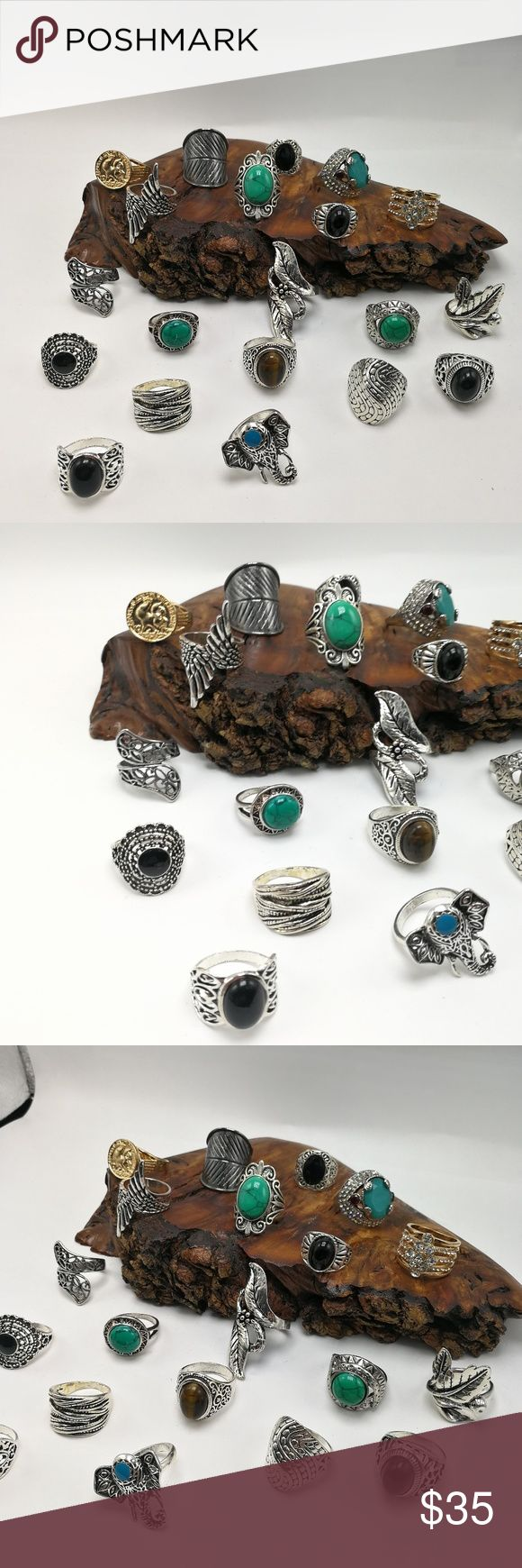 🎄🎅🎄 Bundle 20 rings PLUS Turquoise turkish gems HUGE Bundle 20 Vintage Antiqued Tibet silver Gold rings. Mixed Metals. lead & Nickel free. You will receive ALL the items shown. NOT sold individually. Not sold in a smaller bundle size. NO exceptions. No holds or trades. Price is firm. Display is NFS. Bundle to SAVE. Great for Resale! Size:9/10 RB#262 PLUS SIZE Jewelry Rings