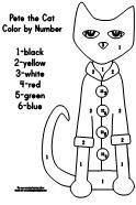 Printable Pete the Cat color by number activity  activity available at www.makinglearningfun.com.
