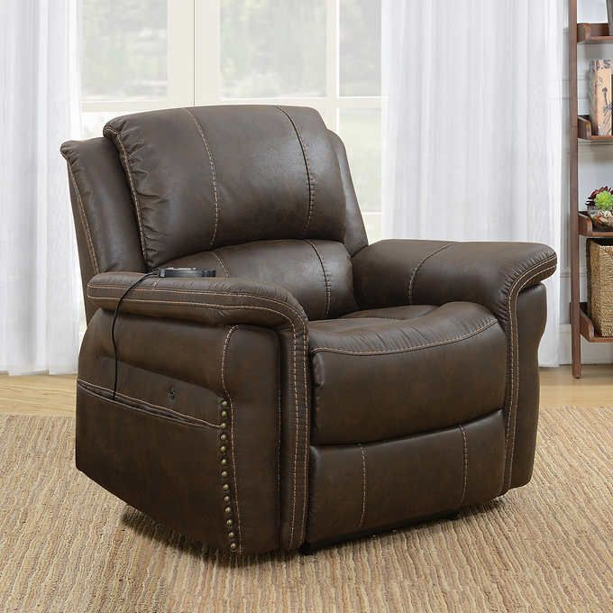 Portage Fabric Heat Massage Power Recliner Power Recliners