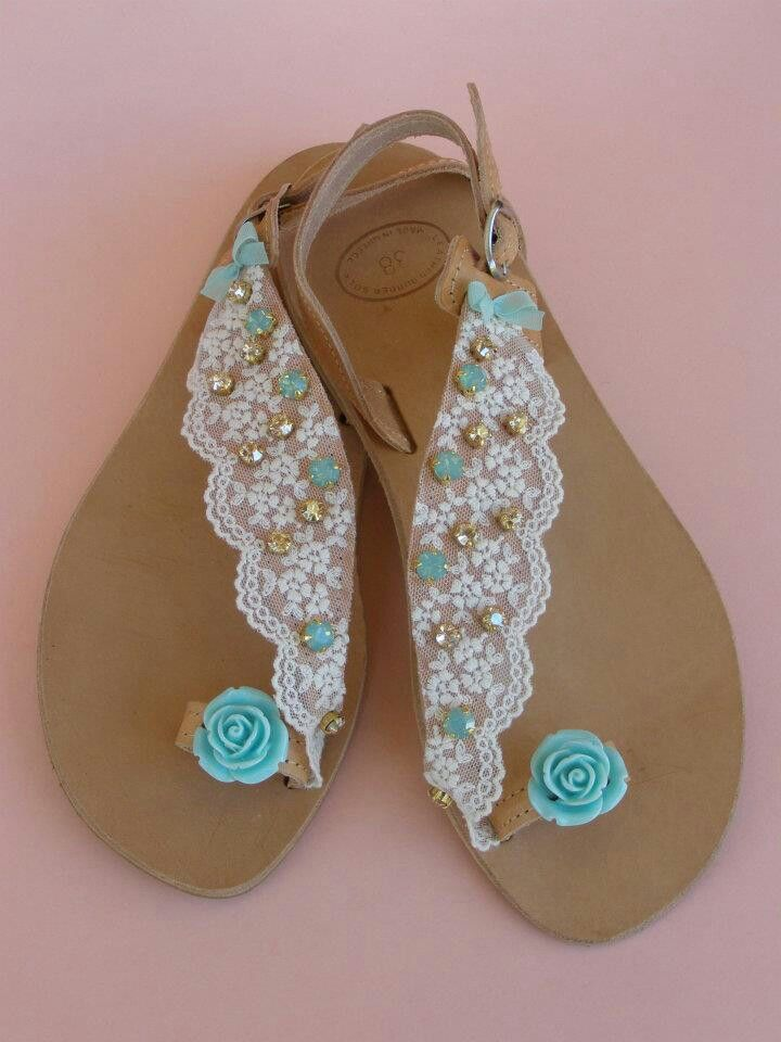 Handmade leather sandals with French white lace, swarovski golden shadow and pacific ocean rhinestones and acrylic flower