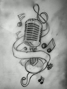 Drawings In Pencil Of Music Notes Old microphone with music