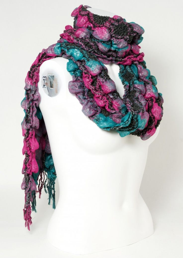 Teal purple and crimson scarf will look fabulous with a dark blue coat or a grey jumper.   The ruffle scarf design keeps it cosy.  This cute and very soft textured scarf is a great style piece for dark hair and a winter complexion
