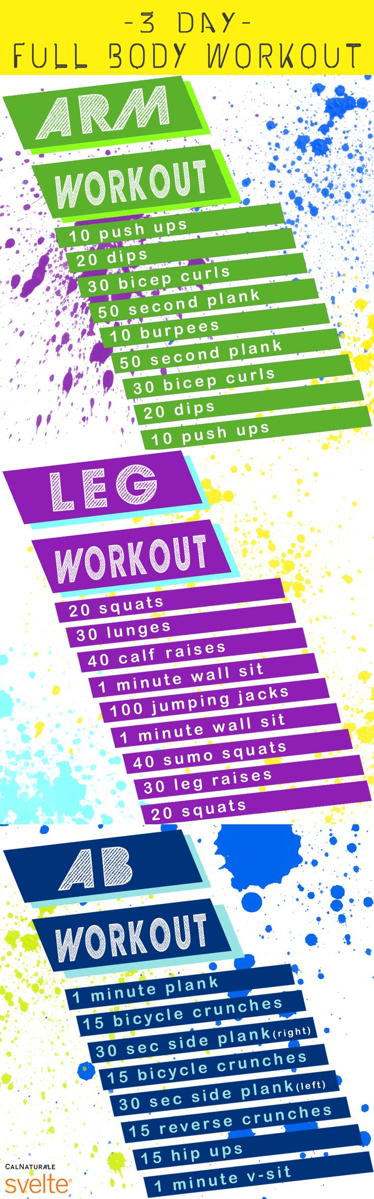 Use this handy 3-day whole body workout program to tone your arms, legs, and abs! #FitnessFriday