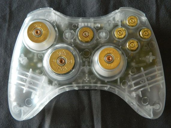 Xbox 360 Controller Brass with Brass Bullet Button Set - Hand Made