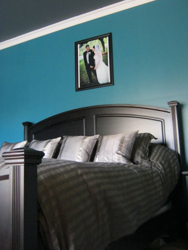 Example of a trendy bedroom design in san francisco with beige walls. Pin by Clare Lenton on Bedroom ideas   Teal bedroom decor