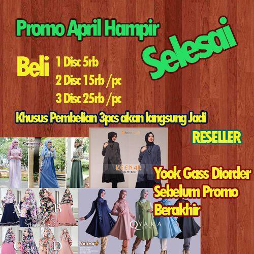 Yukkk Sist Langsung Diorder Promo nya hampir selesai Lhoo .... . (Promo Hanya berlaku Untuk order Bulan April)  Untuk Pemesanan Bisa Langsung ke  SMS / WA (62) 85740460059 (Tutut) SMS / WA (62) 87832842558 (Dewi) SMS / WA (62) 82136000936 (Fitri)  #gamis #gamiscantik #gamissyari #hijab #hijabersindonesia #hijaberscommunity #bajumuslim #hijabfashion #busanamuslim #hijabers #busana #hijaber #gamisbusui by pusatgamisterbaru