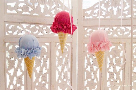 The ice cream decoration for this ice-cream party