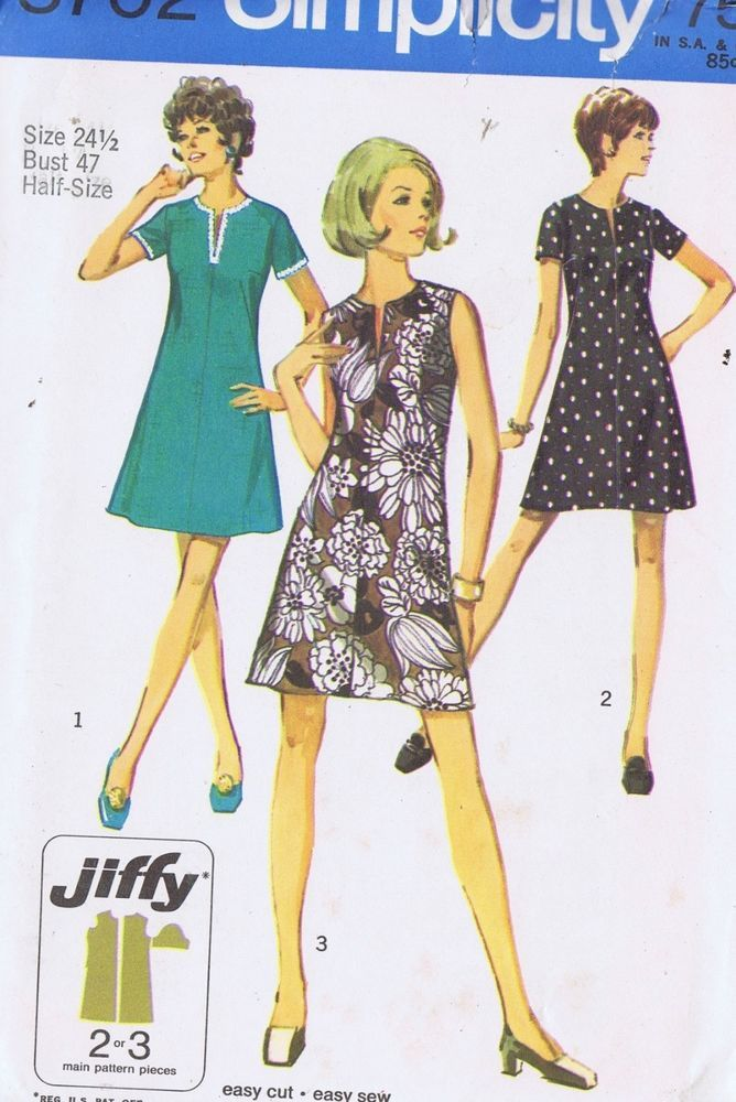 "Sheath Dress VINTAGE SEWING PATTERN SIMPLICITY SIZE 16.5 BUST 39 HIP 41"" UNCUT"