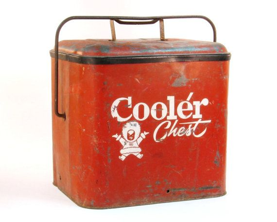 vintage 1950 39 s red metal cooler chest with bottle opener industrial mantique bottle bottle. Black Bedroom Furniture Sets. Home Design Ideas