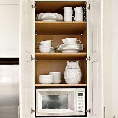 30 best images about kitchen microwave placement on pinterest for Small kitchen wall storage solutions