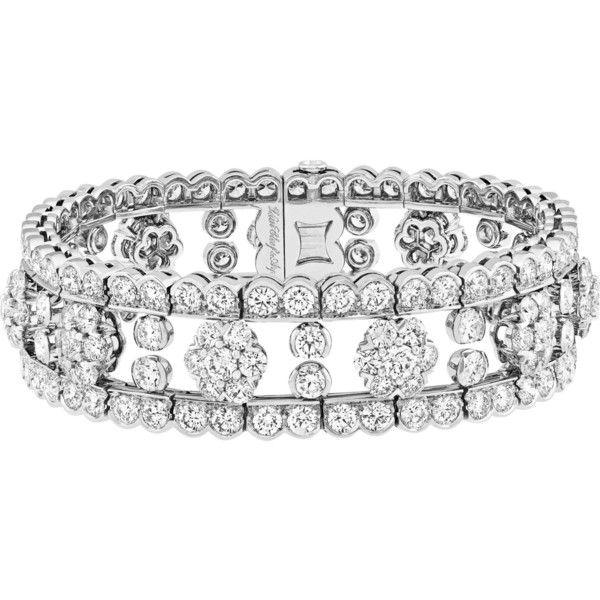 VAN CLEEF & ARPELS Snowflake handmade platinum and diamond bracelet ($292,790) ❤ liked on Polyvore featuring jewelry, bracelets, diamond jewellery, platinum jewelry, platinum bangles, platinum jewellery and diamond jewelry