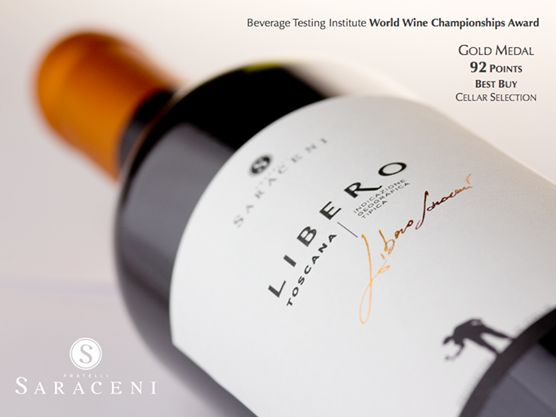 "#Libero Super Tuscan has been awarded a Gold Medal for the World Wine Championships Award under the Tuscan wines category, 92 Points, ""Cellar Selection"" and ""Best Buy"" as well as receiving an outstanding review from the Beverage Tasting Institute's wine tasting competition."