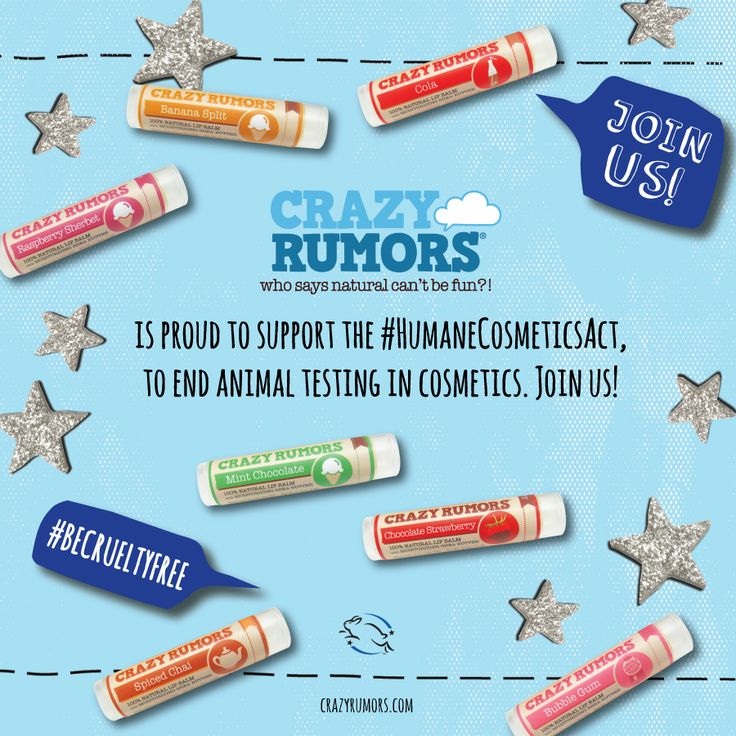Crazy Rumors supports the #HumaneCosmeticsAct and the #BeCrueltyFree campaign!