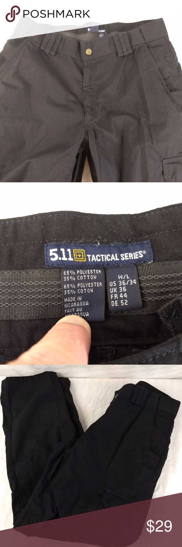 "511 TACTICAL SERIES MENS PANTS 5.11 MILITARY 33X33 PLEASE NOTE THE ACTUAL MEASUREMENTS!  TAG SAYS A SIZE 36X34.  I MEASURE 33X33! 511 TACTICAL PANTS.  BLACK 36X34.  MILITARY, SECURITY, POLICE, TACTICAL, BUG OUT, FIRST RESPONDER, LAW ENFORCEMENT.   65/35 Poly Cotton Blend.  EXTREMELY RUGGED, and expensive slacks in excellent condition showing virtually no wear.   Sealable Pouches for supplies / ammo / carry.   5.11 TACTICAL EXTREMELY HIGH QUALITY BRAND. ACTUAL MEASURES:   WAIST:  33"" INSEAM…"