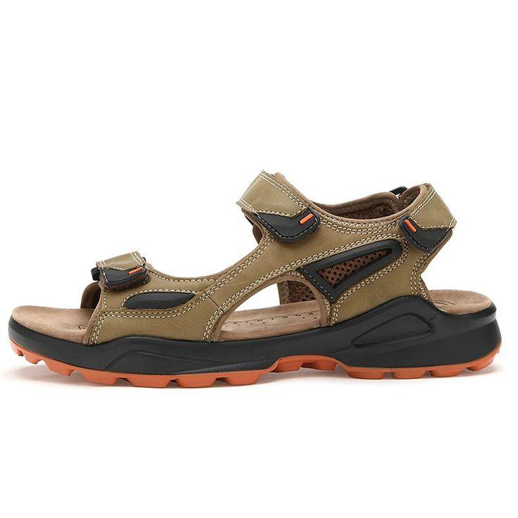 Soft Leather 2014 Shoes Summer Sandalias With Buckle Fashion Men Sandals  Hand, Plus Size 38