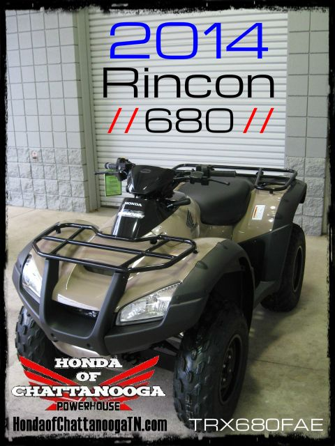 2014 Rincon 680 SALE Price at Honda of Chattanooga is too Low to advertise. Visit www.HondaofChattanoogaTN.com or Call / Email Kevin for the lowest & best 2014 TRX680FAE Rincon 4x4 ATV Sale Price. Our 2014 Rincon TRX680FA ATVs are in stock and we have special financing promotions with $0 DOWN and 90 Days NO Payment on our 2014 Honda ATVs. 2014 Rincon 680 Automatic 4x4 ATV with IRS + big Horsepower! Wholesale Honda ATV Prices at Honda of Chattanooga TN GA AL ATV Dealer
