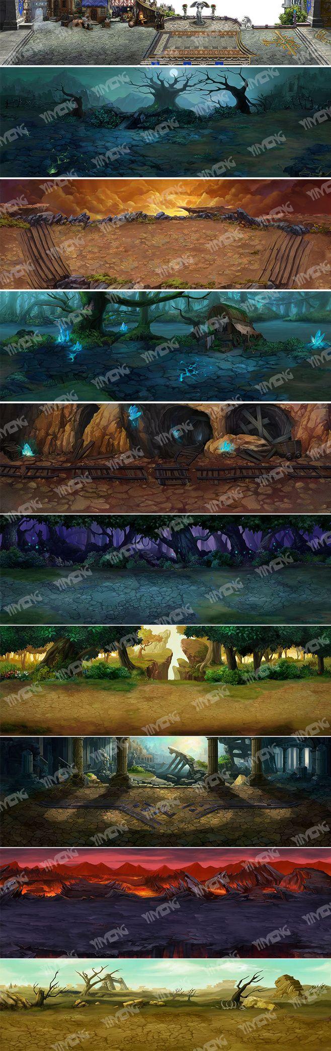 游戏原画美术设计欧美风格场景素材资料2D...