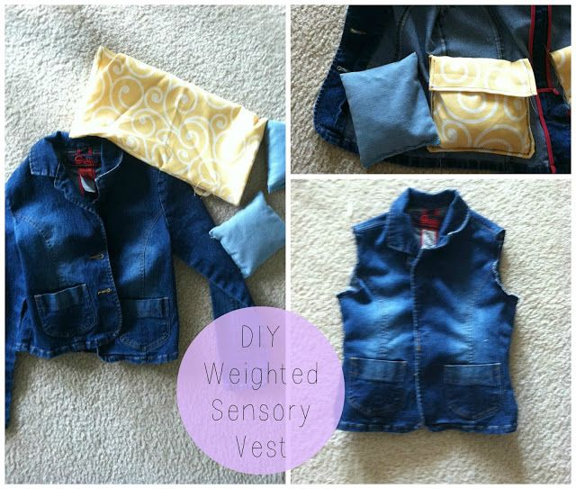 Quick and easy weighted sensory vest with jean jacket and bean bags