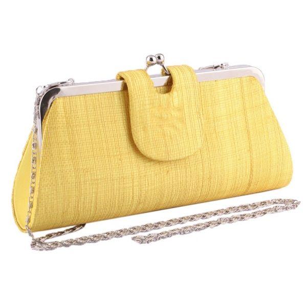 Pochette Cérémonie Bulle en Sisal Jaune Le choix #mariage #mariee sur votre boutique Headwear www.hatshowroom.com #mode #fashion #chic