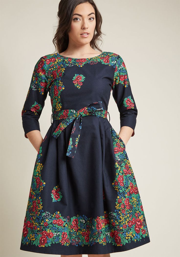 Palava Day Trip Darling Midi Dress in Trellis in 10 (UK) - Fit & Flare by Palava from ModCloth