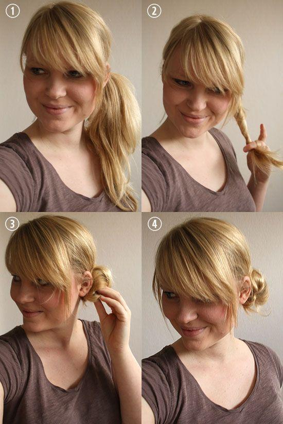 messy side bun - plus the bangs I want!