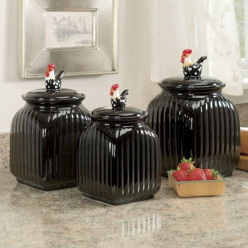 3 Piece Black Rooster Canister Set