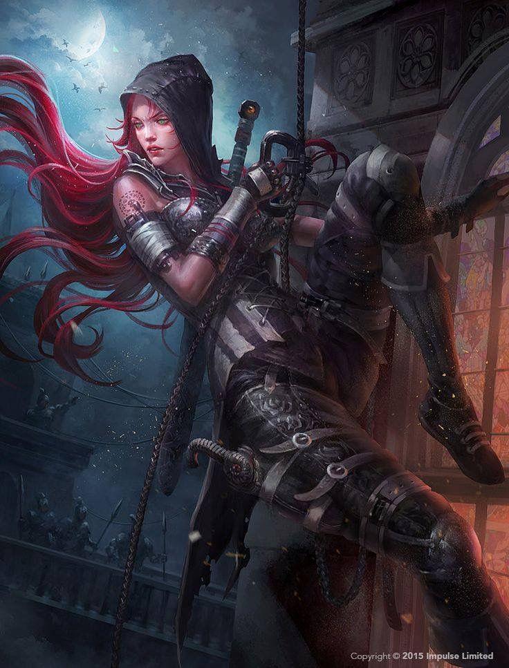 dark hooded red hair female rogue character art female