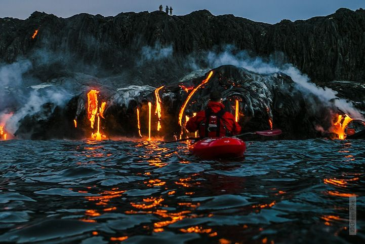 Thrill-Seeking Kayakers Paddle Across an Active Volcano - My Modern Metropolis Extreme sports photographer Alexandre Socci accompanied professional kayaker Pedro Oliva and his team (including kayakers Ben Stookesberry and Chris Korbulic)