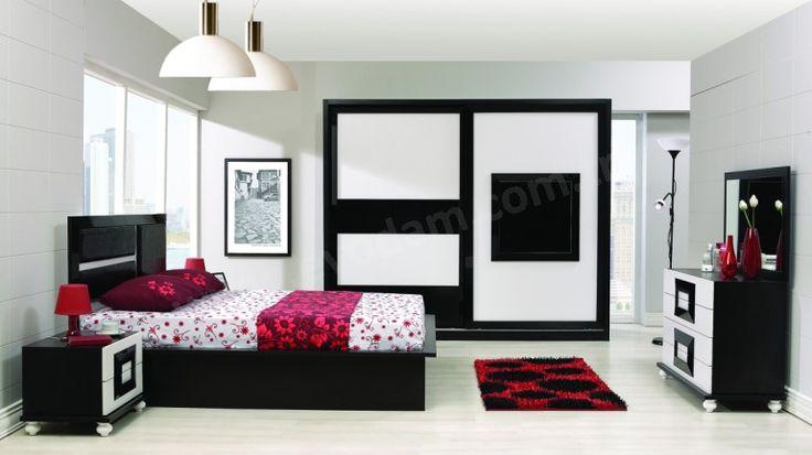 Atlantis Modern yatak Odası Takımı Beyaz - Siyah