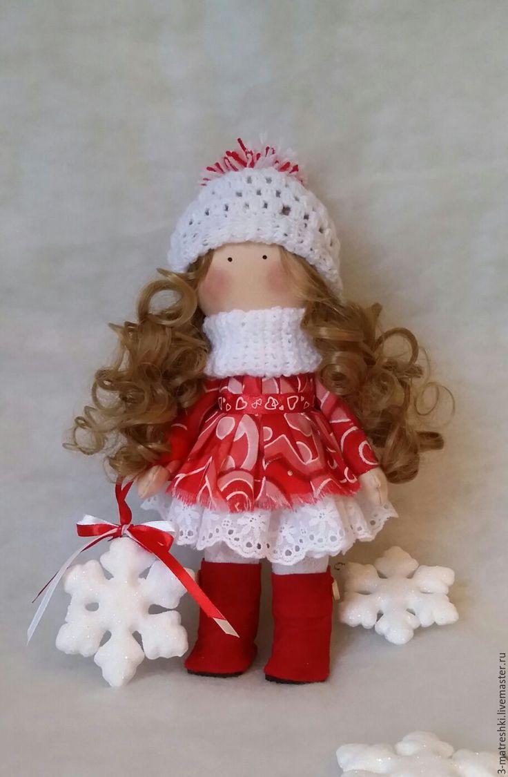 Купить Текстильная кукла Валентина - ярко-красный, белый цвет, Снежка, тыквоголовка
