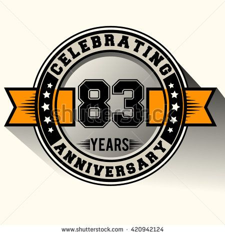 Celebrating 83rd anniversary logo, 83 years anniversary sign with ribbon, retro design. - stock vector