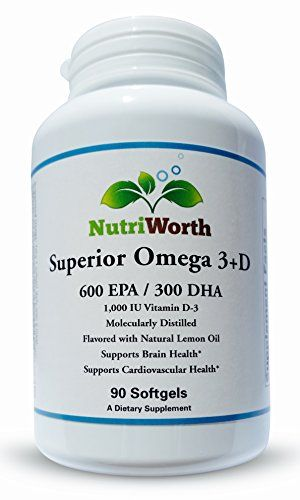 NutriWorth Superior Omega 3  D with NonGMO mixed Tocopherols Maximum Potency 600 mg EPA 300 DHA 1000 ui Vitamin D3 per gel tab 90 gel tabs -- You can get additional details at the image link.