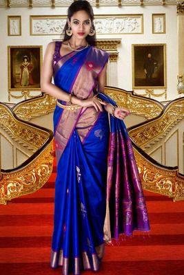Royal blue pure silk zari weaved saree in purple pallu & golden border-SR5819