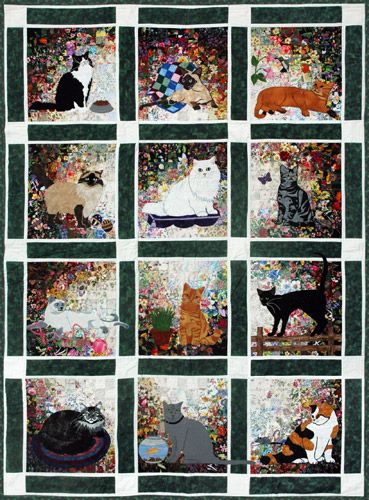 Rachel's Cat Garden Watercolor Quilt Kit