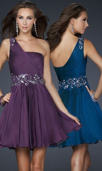 Chiffon A-line One Shoulder Short Formal Dresses FSAU1409P800376 - formalsydney.com