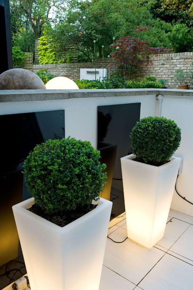 Illuminated Planters Modern Anese Garden Design North London