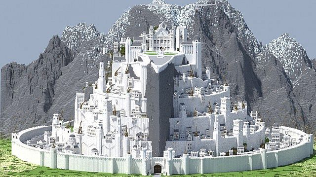 Mooiste Gebouwen Ter Wereld Minas Tirith – Lord Of The Rings Minecraft World Save