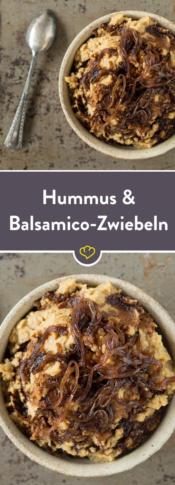 Hummus mit karamellisierten Balsamico-Zwiebeln